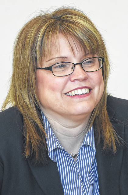 Terri Kohlrieser, candidate for judge addresses the Lima News editorial board.   Craig J. Orosz | The Lima News