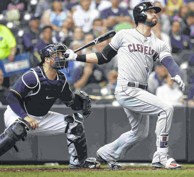Cleveland Indians' Tyler Naquin hits a three-run home run during the fourth inning of a baseball game against the Milwaukee Brewers Wednesday, May 9, 2018, in Milwaukee. (AP Photo/Morry Gash)