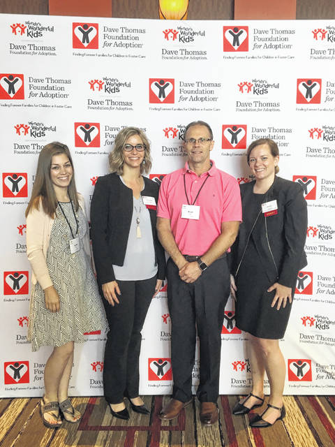 From left to right are: Sarah Ridenour, the Wendy's Wonderful Kids recruiter at Allen County Children Services; Andrea Williams, a grants manager for the Dave Thomas Foundation for Adoption. Brad Rabley, foster care and adoption supervisor for Allen County Children Services and Julia Brake, a grants manager for the Dave Thomas Foundation for Adoption.