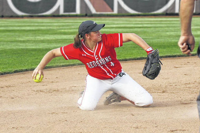 Wapakoneta's Lexi Jacobs makes a play on a ground ball during a Thursday night Division II district semifinal against Defiance at UNOH.