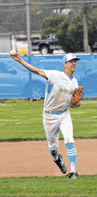 Bath third baseman Isaiah Bolon makes a throws during Friday night's game against Minster.