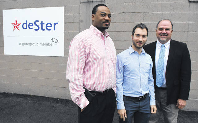 Vernon Hines, left, production manager and Johnny Kattar, corporate development director of DeSter in Lima with Dave Stratton of Allen Economic Development Group.