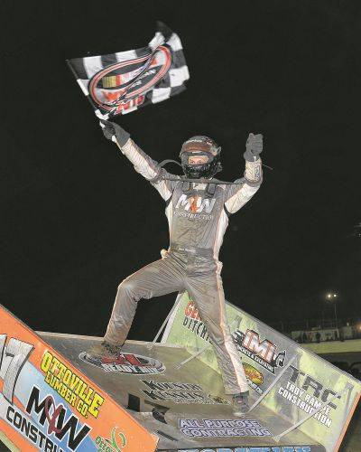 Jared Horstman celebrates winning the K&L Ready Mix NRA Sprint Invaders feature Friday night at Limaland Motorsports Park. Mike Campbell Photo