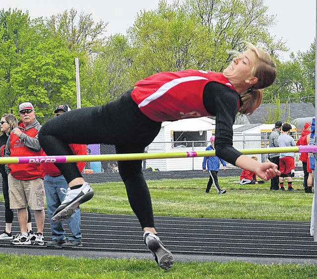 Columbus Grove Bulldog Kayla Reynolds clears the bar Saturday during in the Northwest Conference Meet high jump competition in Spencerville. Dean Brown | The Lima News