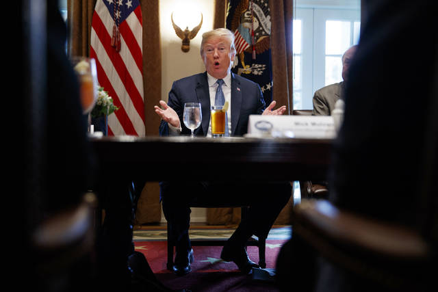 President Donald Trump speaks during a meeting with Republican lawmakers in the Cabinet Room of the White House, Tuesday, June 26, 2018, in Washington. (AP Photo/Evan Vucci)