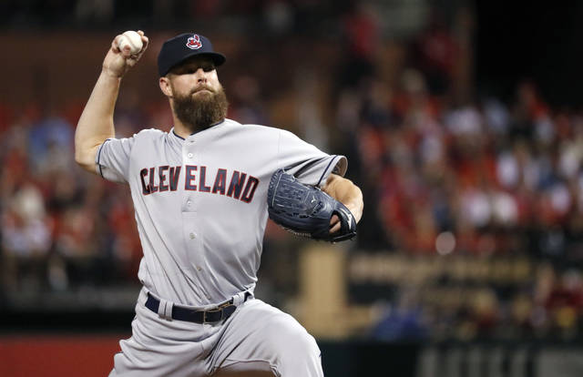 Cleveland Indians starting pitcher Corey Kluber throws during the first inning of a baseball game against the St. Louis Cardinals on Tuesday.