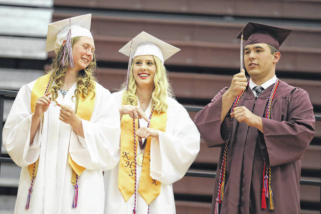 American Sign Language Honor Society students Taylor Zeller (left), Alecia Dunn and Noah Hermiller during the Kalida graduation.