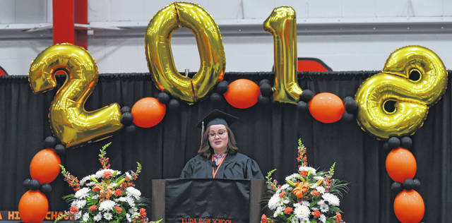 Balloons were used to decorate at Elida's graduation.