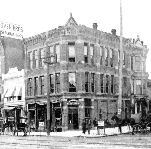 The Badeau block, photographed in 1896.