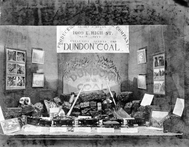 "This photo shows a display made by Geiger and Odell Coal Co. in an unknown year. It boasts the company was ""exclusive agents for 'Dundon' coal,"" which was listed as being from West Virginia. Lima had many coal sellers, and each advertised the types of coal they sold and their superior qualities."