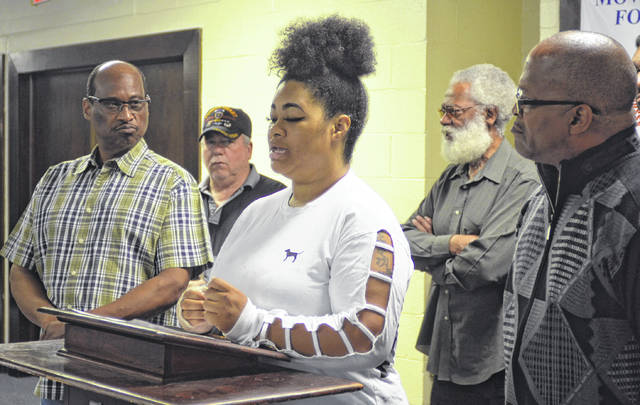 Ashley Hardy spoke about a Saturday incident that ended with her being tased by a Lima Police Department officer during an NAACP media conference Tuesday.