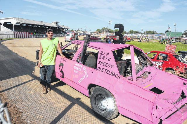 Britain Leone of Findlay waits for his heat at the demolition derby at the Putnam County Fair in Ottawa.