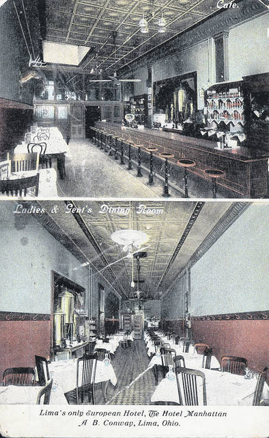 "These postcards from no earlier than 1913 show the interiors of the establishment. The bar was called a ""Cafe,"" and the restaurant was called the ""Ladies and Gent's Dining Room."""