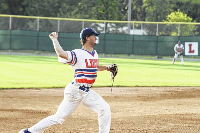 Third baseman Jeddediah Fagg attempts to beat the runner to first base, and secures the out Sunday evening.    Levi A. Morman | The Lima News