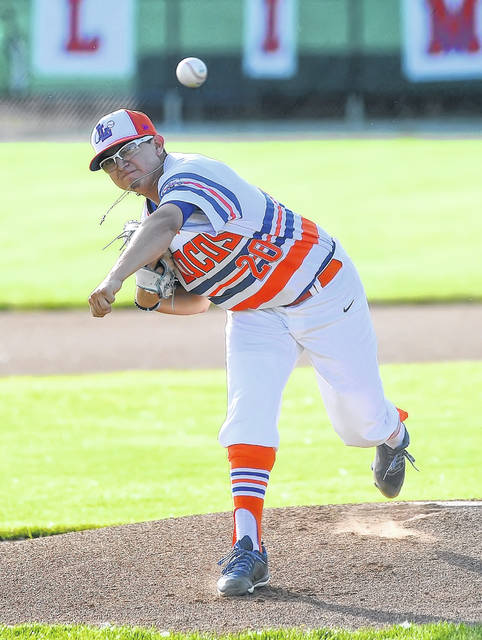 Alex Ayala pitches for the Lima Locos during Thursday night's game against Grand Lake at Simmons Field.