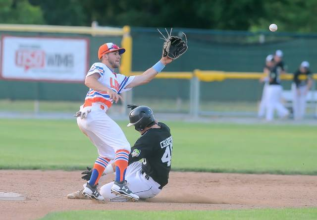 John Privitera of the Lima Locos waits on the throw as Connor Charping of Saginaw Sugar Beets steals second during Sunday's game at Simmons Field.