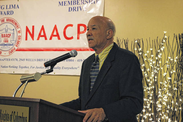 Ohio NAACP president Tom Roberts was in Lima Friday night to speak at the Fourth Annual Scholarship Banquet for the Lima NAACP.