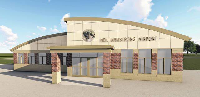 A computer rendering shows what the new terminal at the Neil Armstrong Airport should look like when it's finished.