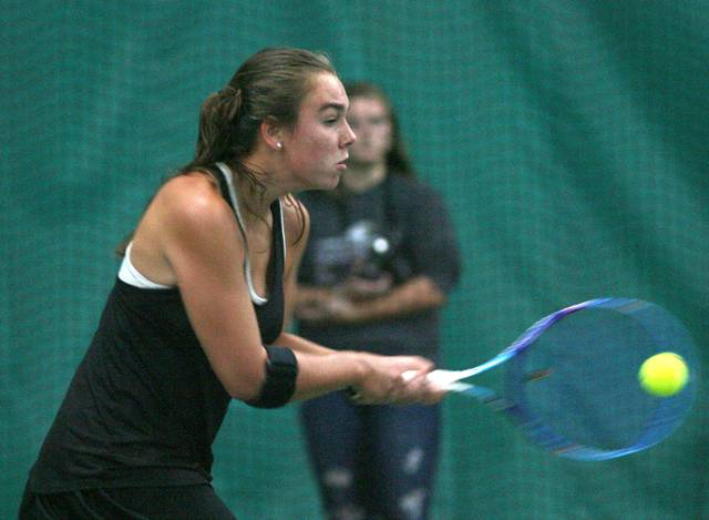 Madison Snider fires back a shot during the singles competition at the Lima Area Tennis singles tournament Saturday.