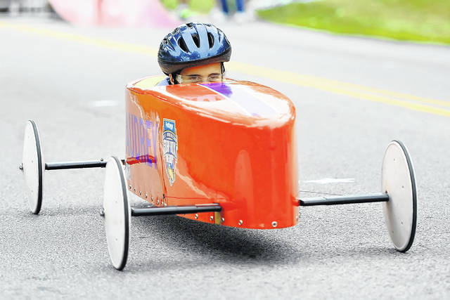 Audrey Crites competes in Saturday's Soap Box Derby held on the Henry J. Hawk Memorial Hill in Faurot Park.