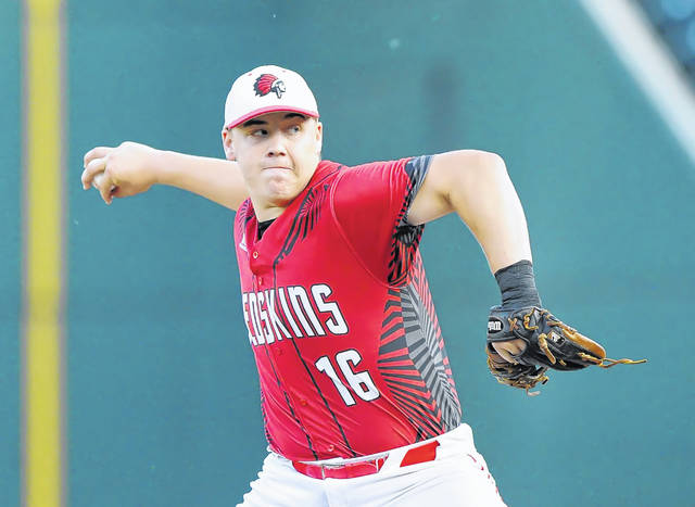 Wapakoneta's Manny Vorhees pitches against Dayton Chaminade-Julienne during Saturday's Division II state championship game at Huntington Park in Columbus.