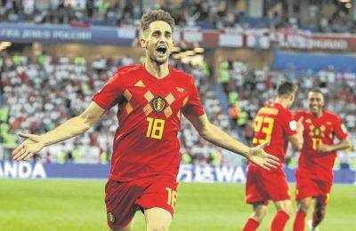 Belgium's Adnan Januzaj celebrates after scoring a goal against England during Thursday's World Cup match in Kaliningrad, Russia.