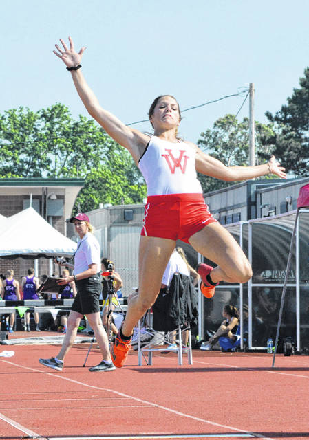Van Wert's Megan Braun competes in the Division II long jump at Saturday's state track and field championships at Jesse Owens Stadium in Columbus. Dean Brown | The Lima News