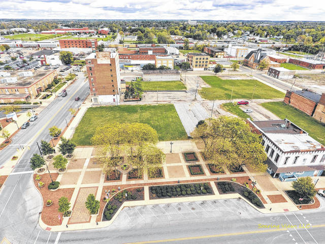 This 2017 file photo shows an aerial view of the southeast quadrant of Lima's Town Square, set to soon be home to the Rhodes State College Center for Health Sciences Education & Innovation.