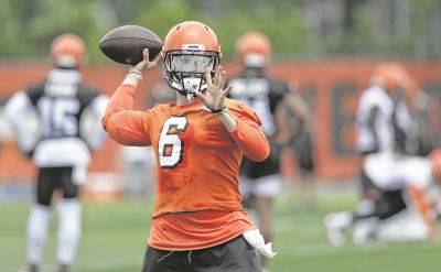 The Cleveland Browns' Baker Mayfield participates in practice Wednesday at the team's training camp facility in Berea.
