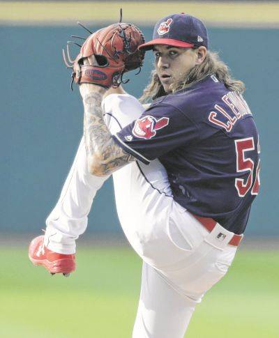 Mike Clevinger pitches for the Indians against the Chicago White Sox during Tuesday night's game in Cleveland.
