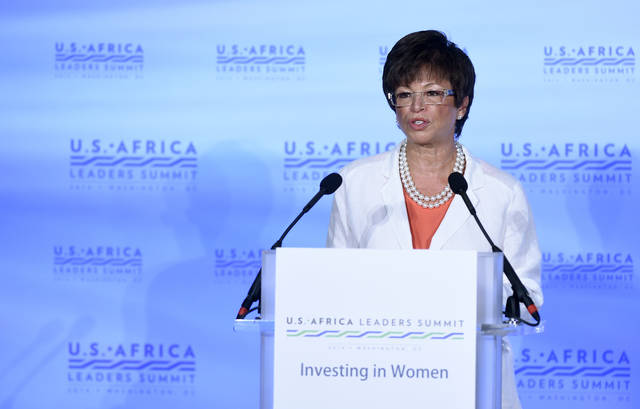 "FILE - In this Aug. 4, 2014 file photo, then White House Senior Adviser Valerie Jarrett speaks in Washington during the Investing in Women, Peace and Prosperity luncheon of the 2014 US Africa Summit. Great American Republic, a website that describes itself as a news curator, published the claim July 1 as part of a story suggesting that Obama is ""helping lead the anti-Trump resistance from his DC compound."" The report did not provide any details or a source for the information. Obama's personal office denied that Jarrett has moved in with him and his wife Michelle. Jarrett could not be reached for comment."