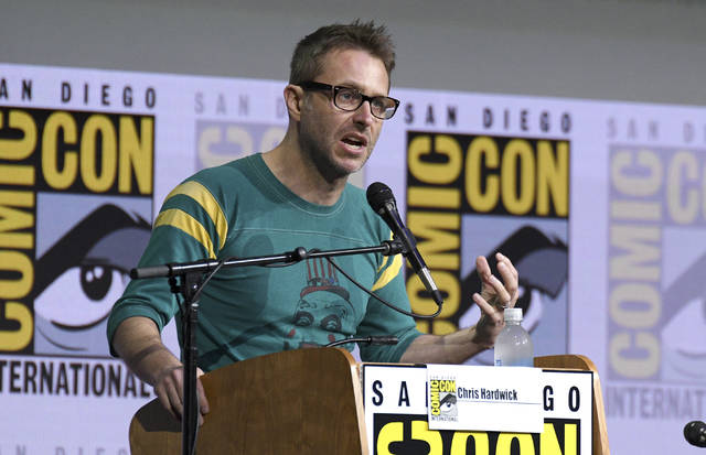 "Chris Hardwick moderates the ""Fear The Walking Dead"" panel at Comic-Con International in San Diego on July 21, 2017. Hardwick, a mainstay at Comic-Con and moderator of numerous panels, stepped aside from moderating AMC and BBC America panels amid allegations from an ex-girlfriend, which Hardwick denied."