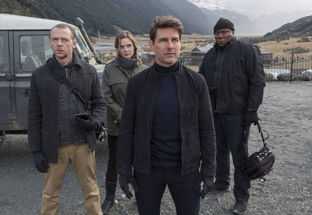 "This image released by Paramount Pictures shows, from left, Simon Pegg, Rebecca Ferguson, Tom Cruise and Ving Rhames in a scene from ""Mission: Impossible - Fallout."""