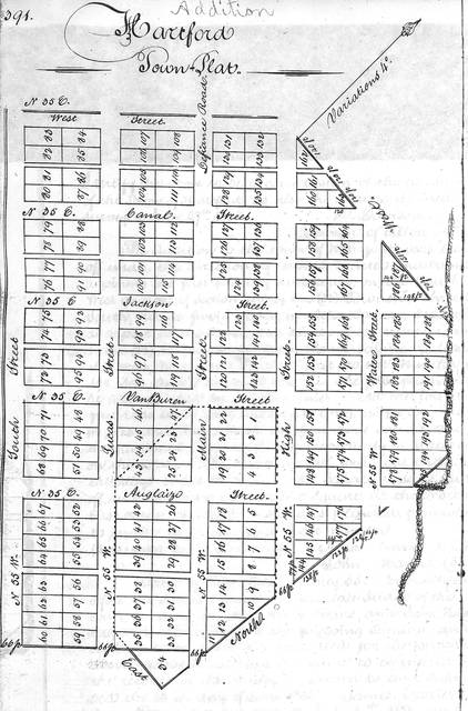 A plat of Hartford from 1836. This version shows a larger town plan, with streets named Auglaize, Van Buren, Jackson, Canal, West, South, Lucas, Main, High and Water.