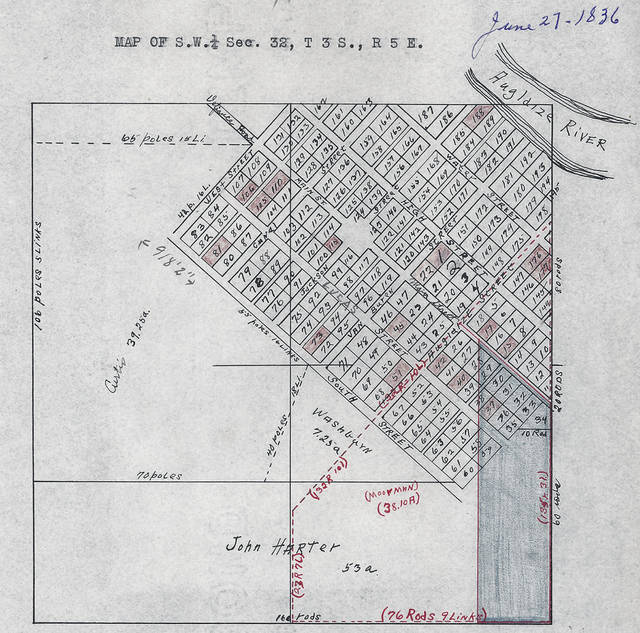 This plat of Hartford dates from 1836. Co-founders John Harter and Amos Evans gambled on where the Miami & Erie Canal would be cut, and the route of the canal missed their planned town.