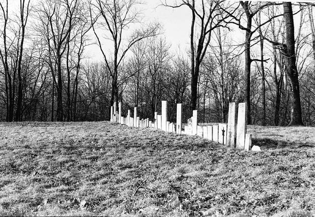 A photograph of the old cemetery at Hartford in 1972 by Joe Dunlap.