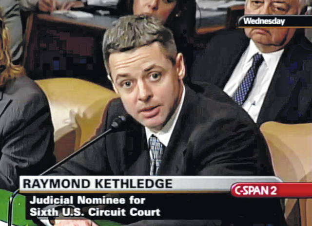 In this May 7, 2008, image from video provided by C-SPAN, Raymond Kethledge testifies during his confirmation hearing for the Sixth U.S. Circuit Court on Capitol Hill in Washington. President Donald Trump is closing in on his next Supreme Court nominee, with three federal judges leading the competition to replace retiring Justice Anthony Kennedy. Trump's top contenders for the vacancy at this time are federal appeals judges Amy Coney Barrett, Brett Kavanaugh and Raymond Kethledge, said a person familiar with Trump's thinking who was not authorized to speak publicly.
