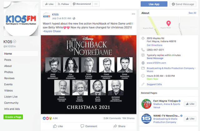 "This screenshot from the Facebook page of K105-FM in Fort Wayne, Ind., shows what appears to be a promotional image falsely claiming that Disney plans to release a star-studded revival of the film ""The Hunchback of Notre Dame."" A Disney representative has confirmed that the image is not real."