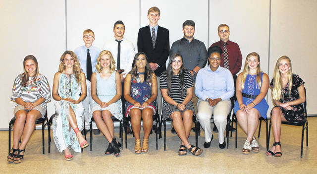 Recipients of the CIAO scholarships included, front from left, Karis Wilson, Gabrielle Goecke, Madison Langhals, Alexa Hawk, Kylie Guagenti, Nikiyja Carter, Faith Gossard and Savannah Meeker; and standing, from left, Ethan Mangette, Joseph Sanchez, Michael Johnston, Nicholas Azzarello and Nicholas Dove.