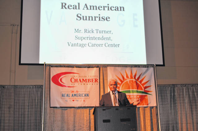 Vantage Career Center Superintendent Rick Turner speaks to a crowd about various initiatives that Vantage has put in place to retain and educate youth in the region. He spoke Friday during Real American Sunrise at Veterans Memorial Civic Center.