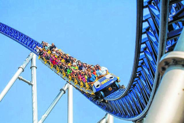 Families enjoy the Millenium Force roller coaster at Cedar Point in Sandusky.