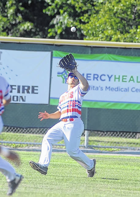 The Lima Locos' Anthony Amicangelo gets under a fly ball against St. Clair during Wednesday's game at Simmons Field.