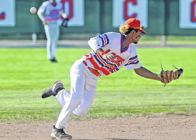 The Lima Locos' Tyler Simon misplays a ground ball against St. Clair during Wednesday's game at Simmons Field.