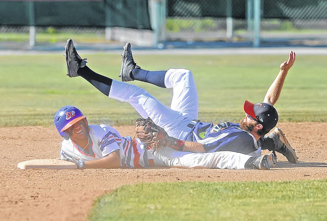 Lima Locos' Tyler Simon upends Richmond Jazz Austin Turner at second as he slides in for a double during Sunday's game at Simmons Field.
