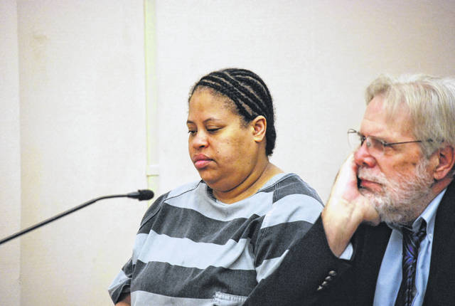 J Swygart | The Lima News Marchion Williams, 40, appeared in Allen County Common Pleas Court on Tuesday for a hearing during which her attorney, William Kluge, attempted to have portions of her statements to police ruled inadmissible at trial. Williams is charged with the murder earlier this year of Lima resident Eddie McClellan.