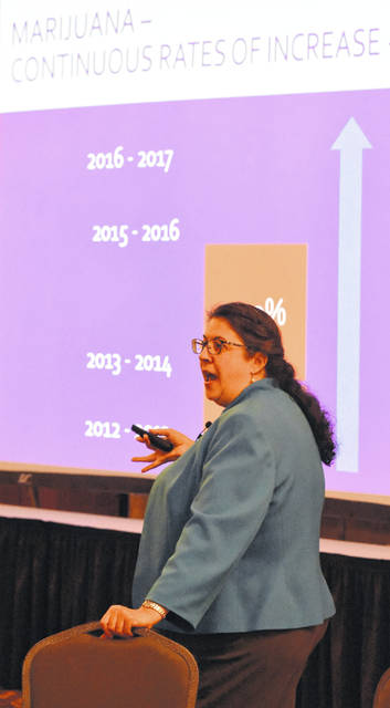 Allison Sharer of Working Partners addresses the Medical Marijuana Symposium held Tuesday at the Howard Johnson in Lima.