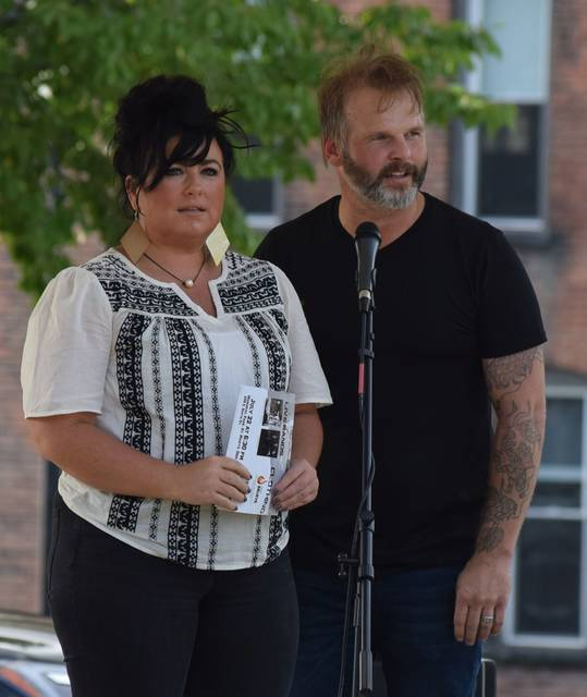 Melissa and Ben Budde organized the Night of Hope a Concert Against Heroin, Sunday night at Memorial Park in St. Marys. Several speakers took the stage to talk about the problem of opioid abuse and what help is available in the community.