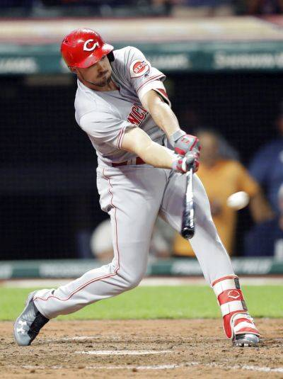 Adam Duvall was traded late Monday from Cincinnati to Atlanta for three players with Triple-A Gwinnett at the time of the deal.