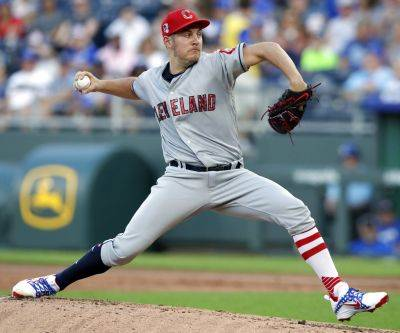 Cleveland's Trevor Bauer struck out eight and walked one over 7 2/3 innings Wednesday night against the Royals in Kansas City.