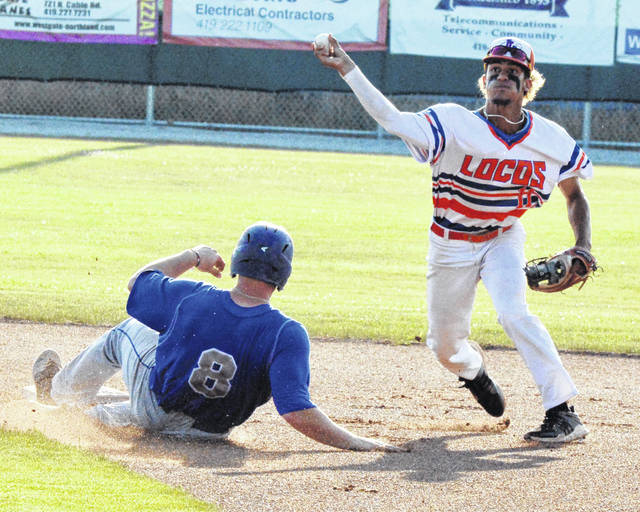 Lima Locos shortstop Tyler Simon throws on to first to complete a double play after tagging the bag to force out the Cincinnati Steam's Griffin Bernardo during Thursday night's game at Simmons Field.